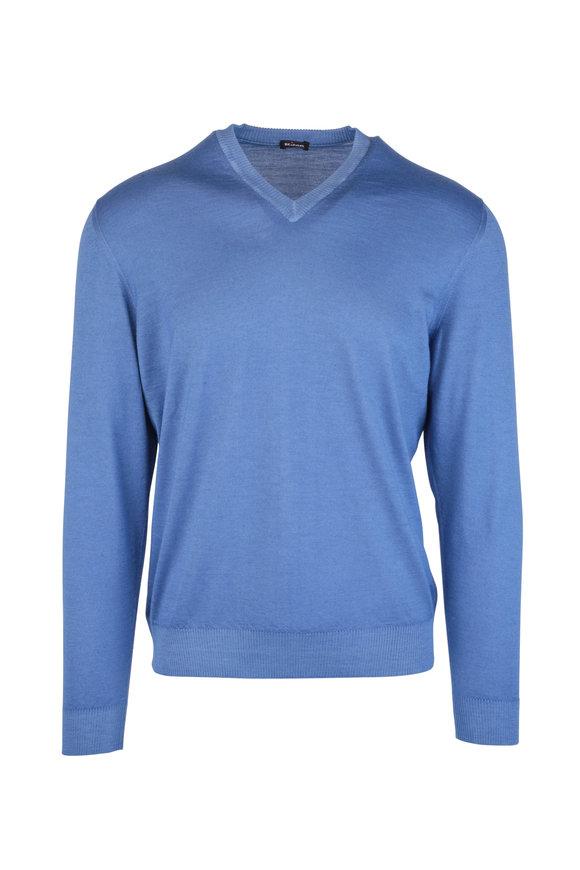 Kiton Light Blue Cashmere & Silk V-Neck Sweater