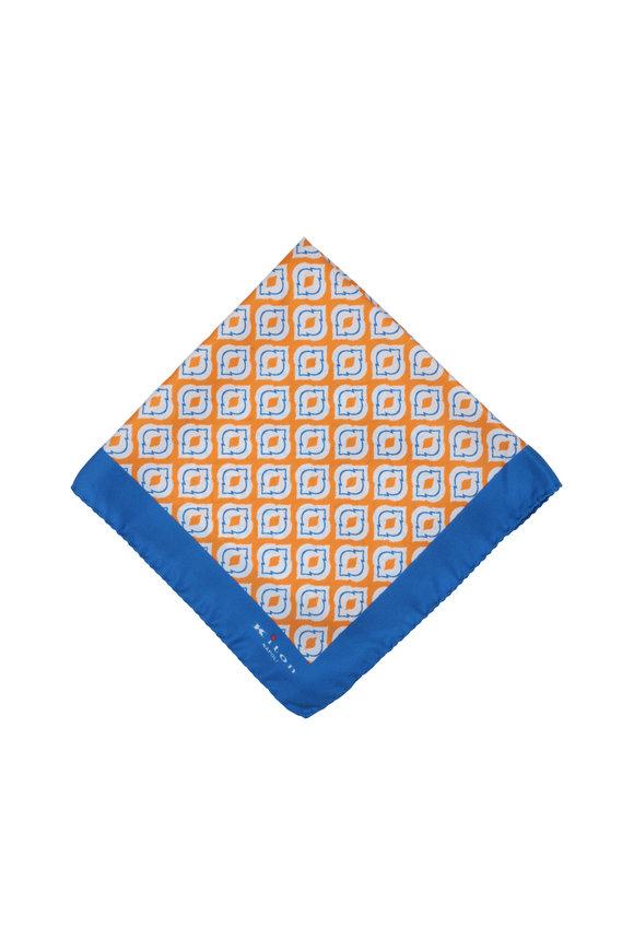Kiton Orange & Blue Medallion Silk Pocket Square