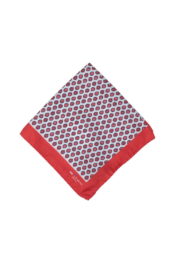 Kiton Red & Blue Geometric Silk Pocket Square