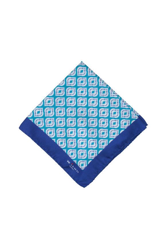Kiton Teal & Royal Blue Medallion Silk Pocket Square