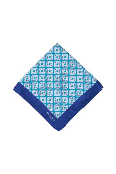 Kiton - Teal & Royal Blue Medallion Silk Pocket Square