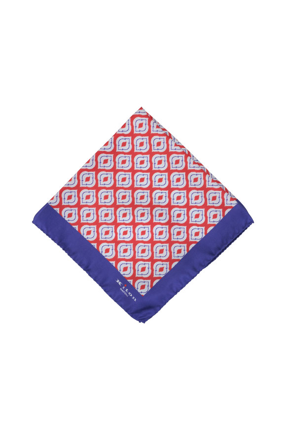 Kiton Purple & Red Medallion Silk Pocket Square