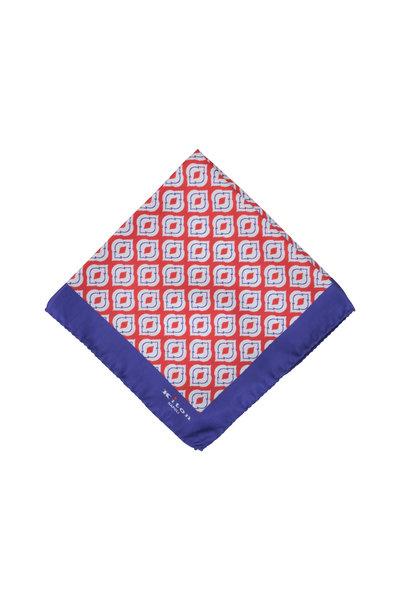 Kiton - Purple & Red Medallion Silk Pocket Square