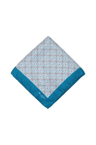 Kiton - Teal & Gray Medallion Silk Pocket Square