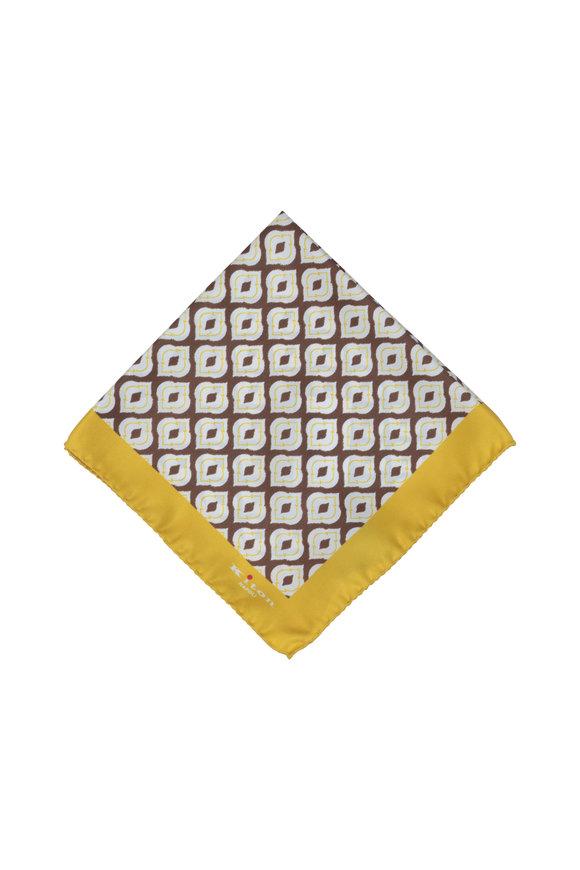 Kiton Yellow & Brown Medallion Silk Pocket Square