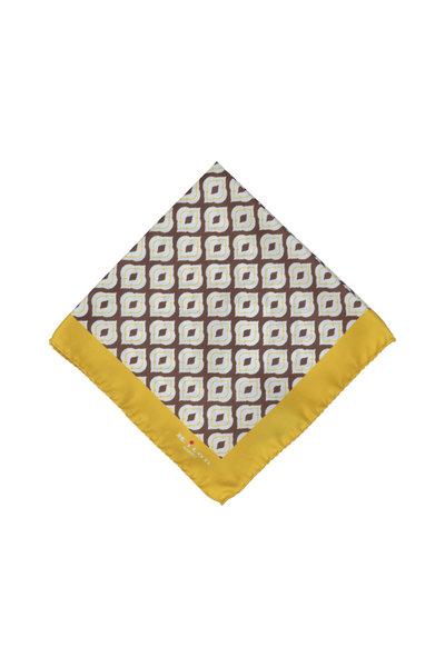 Kiton - Yellow & Brown Medallion Silk Pocket Square
