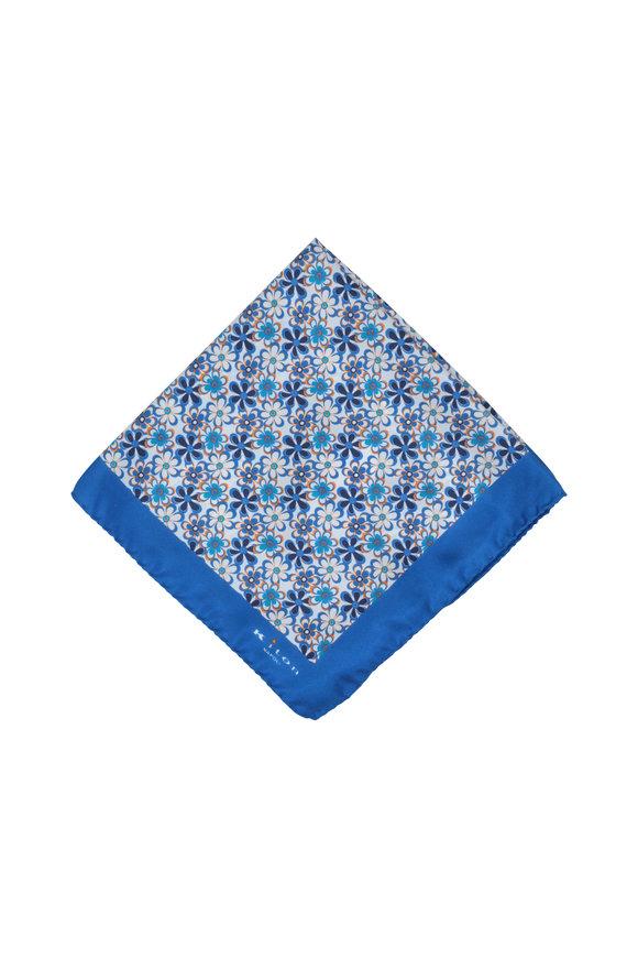 Kiton Blue Floral Silk Pocket Square