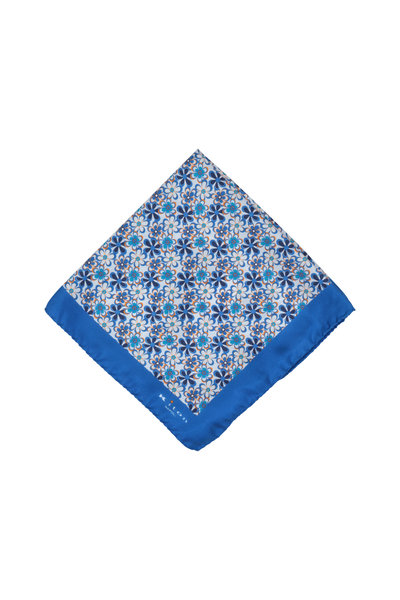Kiton - Blue Floral Silk Pocket Square