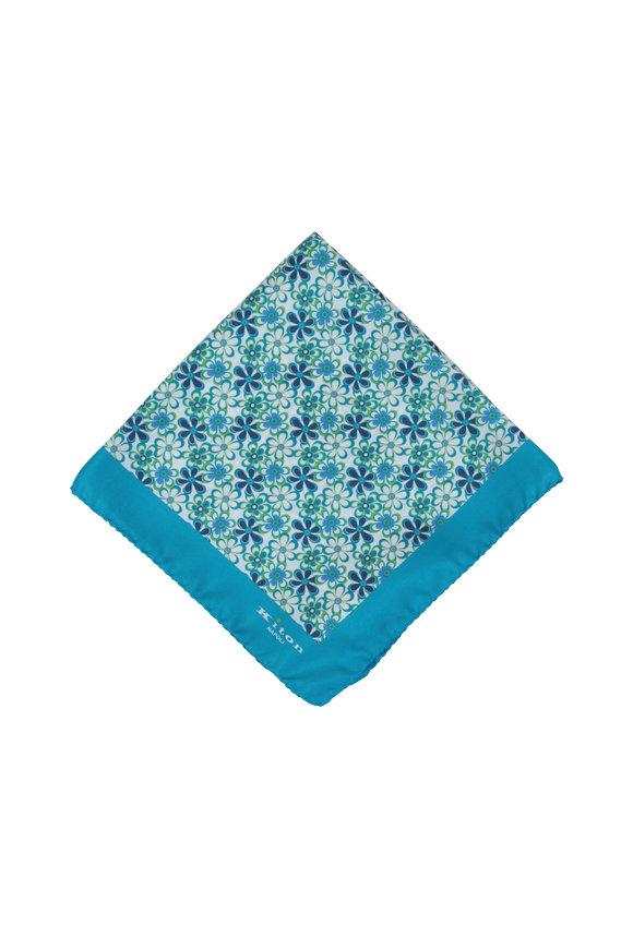 Kiton Turquoise Floral Silk Pocket Square