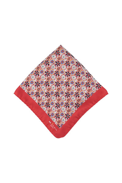 Kiton - Red Floral Silk Pocket Square