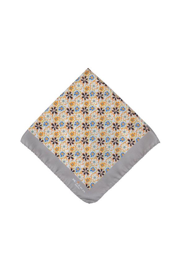 Kiton Taupe Floral Silk Pocket Square
