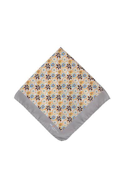 Kiton - Taupe Floral Silk Pocket Square