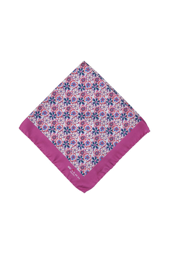 Kiton Magenta Floral Silk Pocket Square