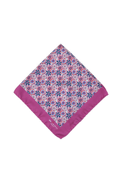 Kiton - Magenta Floral Silk Pocket Square
