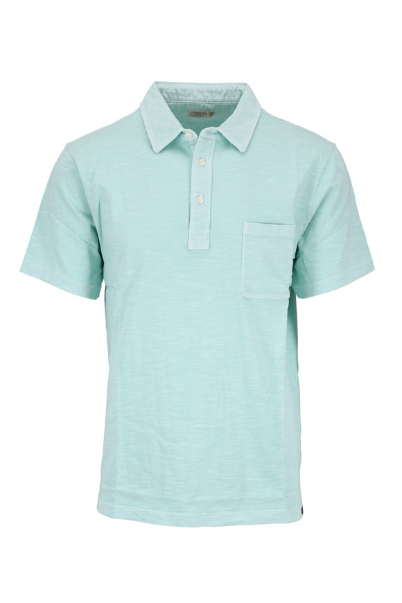 Faherty Brand Turquoise Sunwashed Short Sleeve Polo