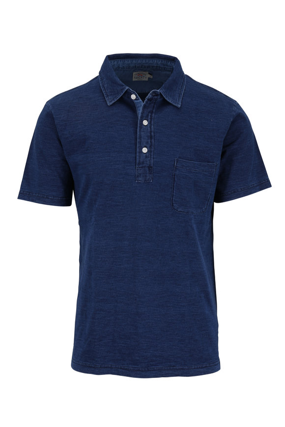Faherty Brand Dark Indigo Short Sleeve Pocket Polo