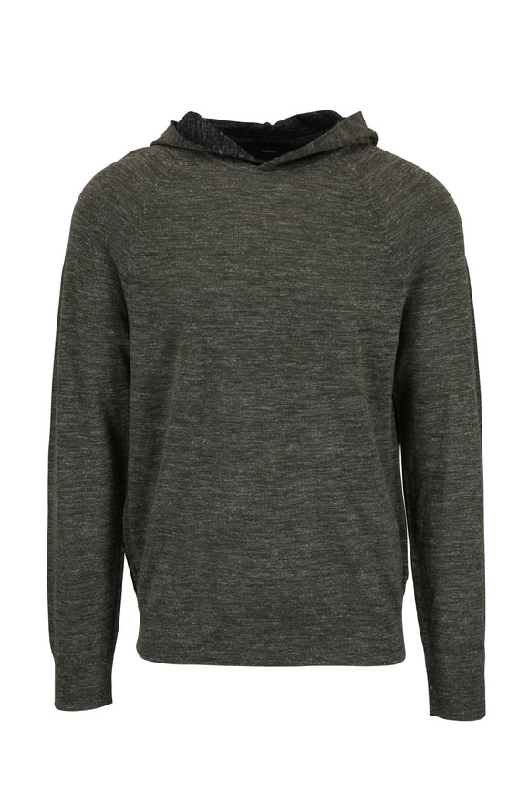 Vince Army Green & Gray Colorblock Hoodie