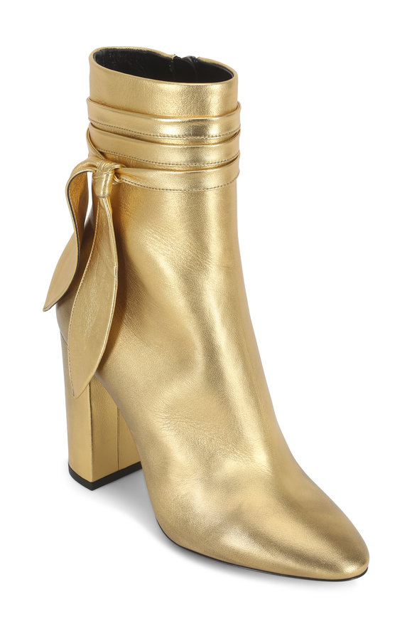 Saint Laurent Lou Metallic Gold Leather Ankle-Wrap Boot, 100mm