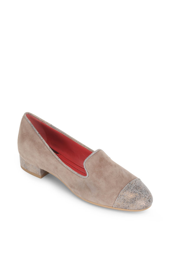 Pas de Rouge Daria Camel Leather & Suede Cap-Toe Loafer