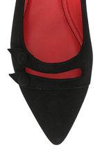 Pas de Rouge - Janet2 Black Suede Button-Detail Flat
