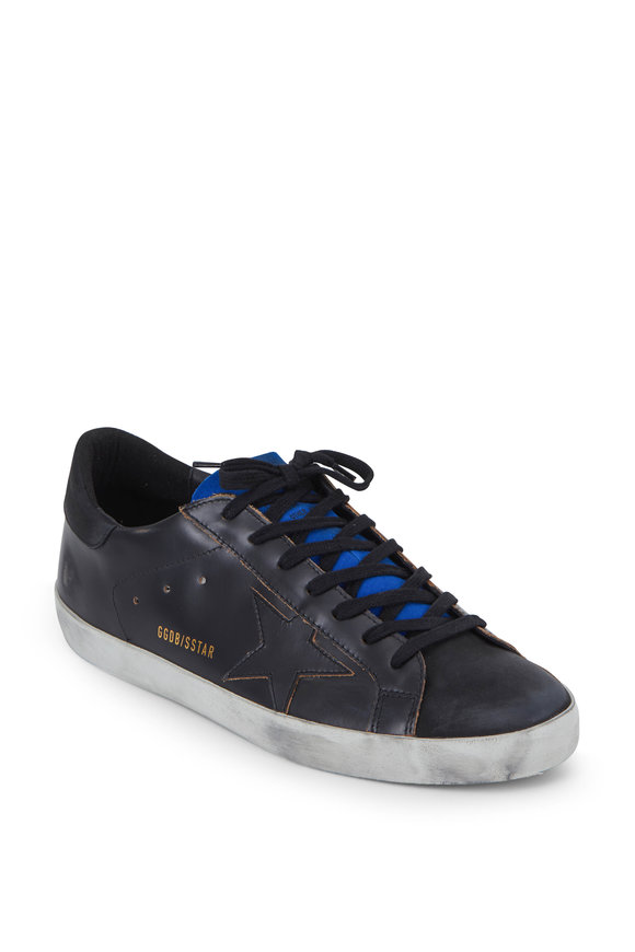 Golden Goose Men's Superstar Brushed Black Leather Sneaker
