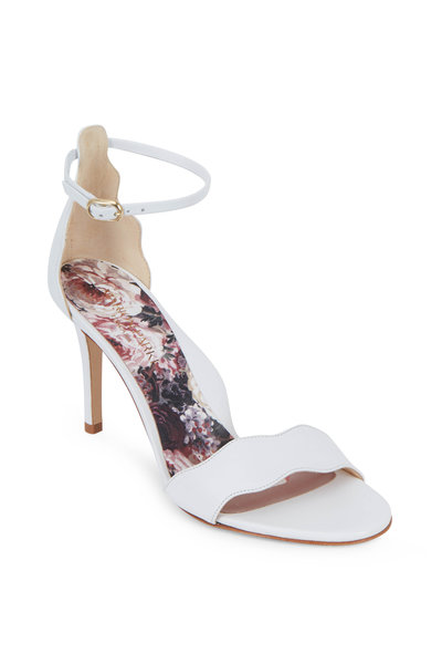 Marion Parke - Fiona White Leather Ankle-Strap Sandal, 85mm