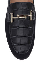 Tod's - Double T Black Croc Embossed & Canvas Loafer