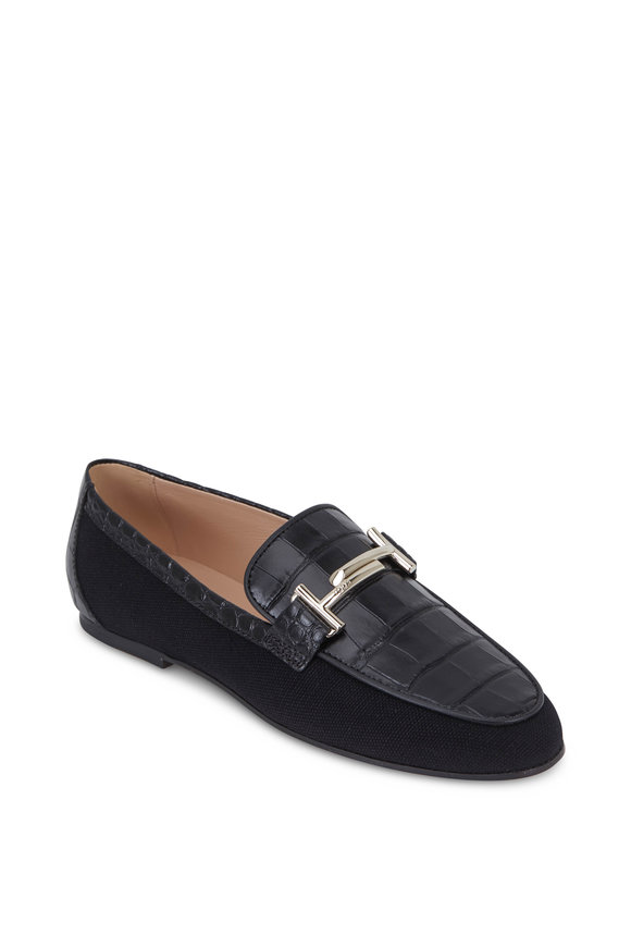Tod's Double T Black Croc Embossed & Canvas Loafer