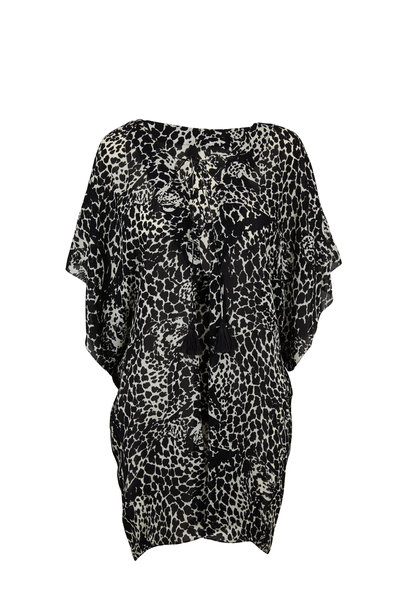 Saint Laurent - Black & White Georgette Kaftan Dress