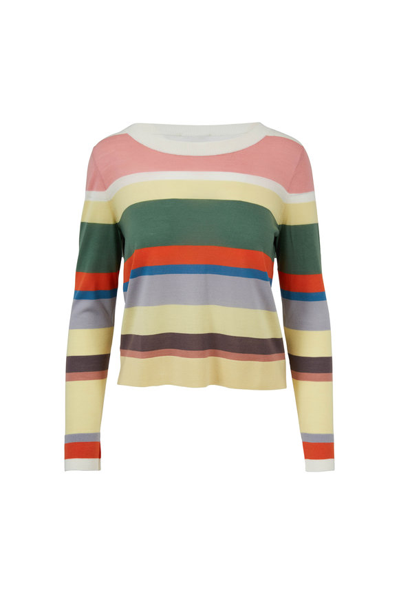 Akris Punto Multicolor Striped Wool Sweater