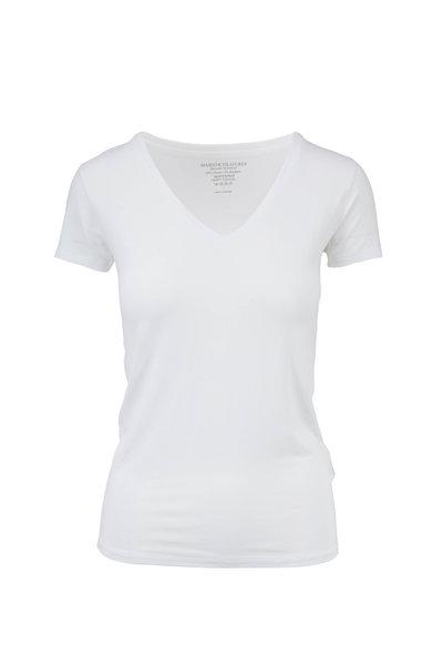Majestic - White Superwashed V-Neck T-Shirt