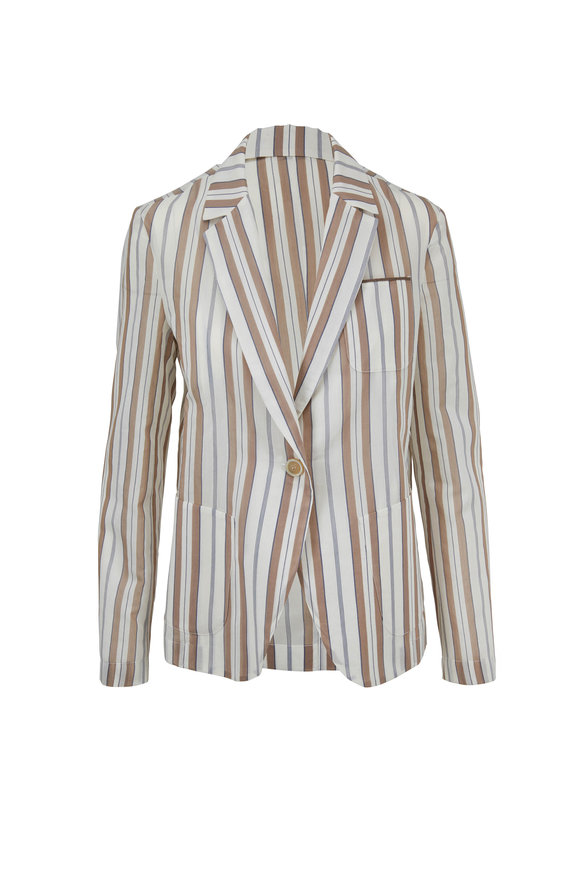 Brunello Cucinelli Nutmeg Gauze Striped Single Button Jacket