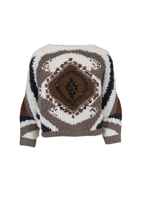 Brunello Cucinelli Navy & Natural Nubby Wool Evil Eye Sweater