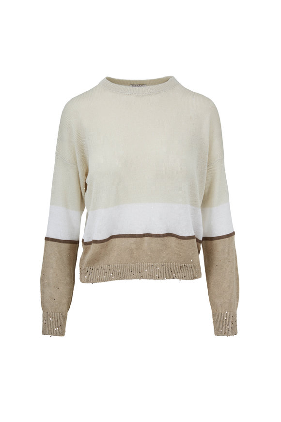 Brunello Cucinelli Linen Tricolor Monili Stripe Sweater