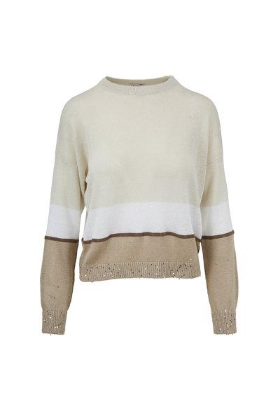 Brunello Cucinelli - Linen Tricolor Monili Stripe Sweater