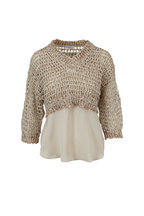 Brunello Cucinelli - Exclusively Ours Oat Open Knit Paillette Sweater
