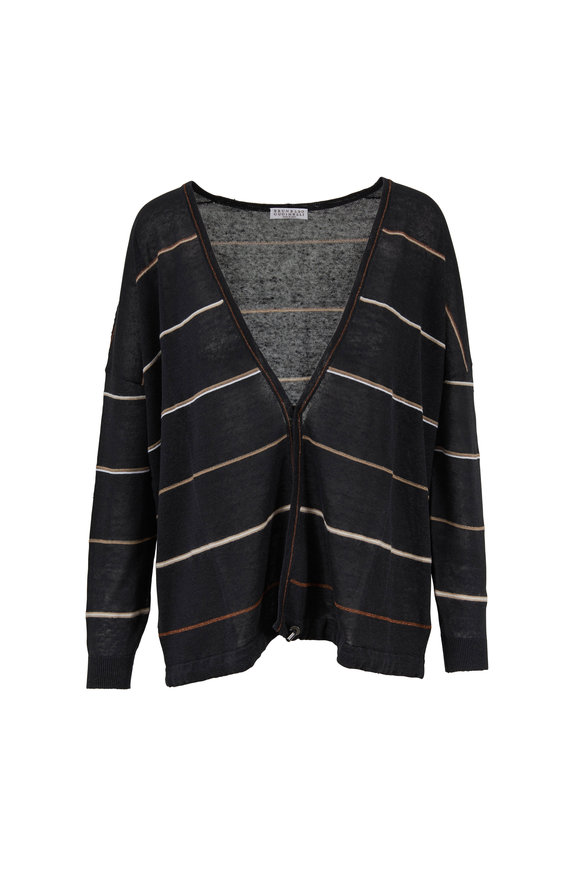Brunello Cucinelli Onyx Striped Drawstring Waist Cardigan