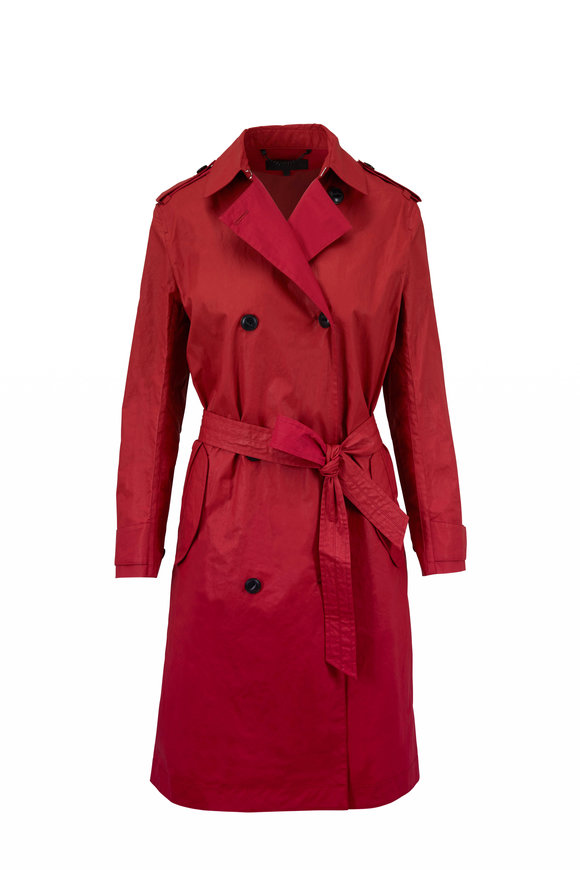 Rag & Bone Rufus Red Coated Cotton Trench Coat