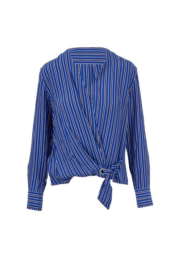 Rag & Bone Felix Blue Multicolor Striped Silk Top