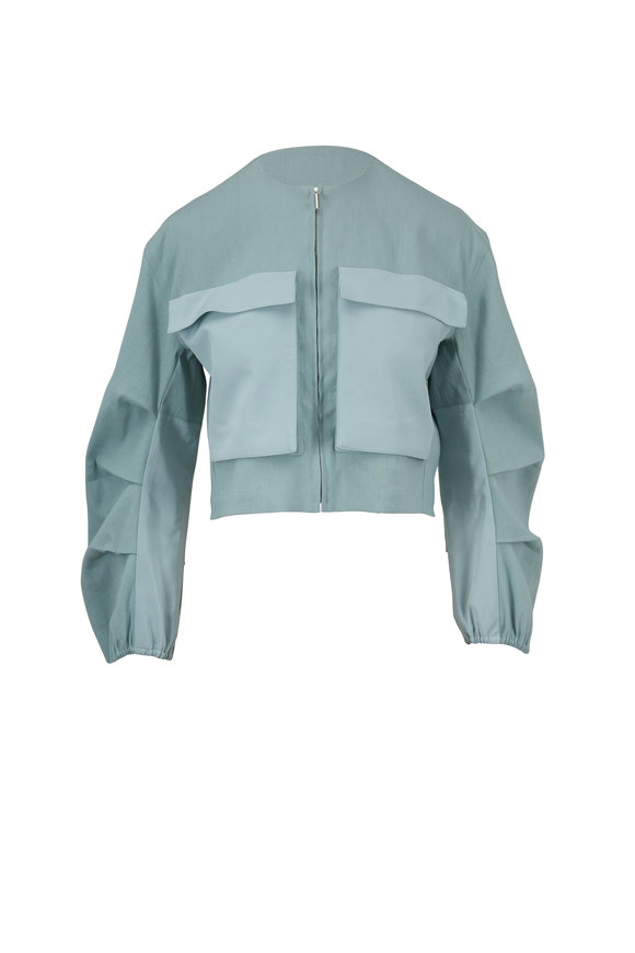 Rosetta Getty Jade Linen & Stretch Cotton Pleated Utility Jacket