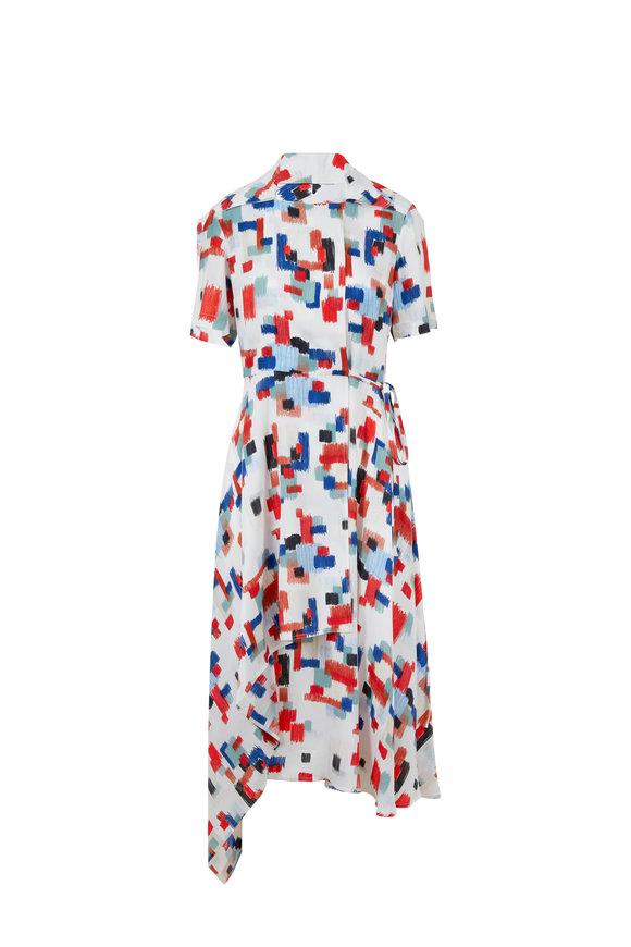 Rosetta Getty Multicolor Scribble Short Sleeve Wrap Dress