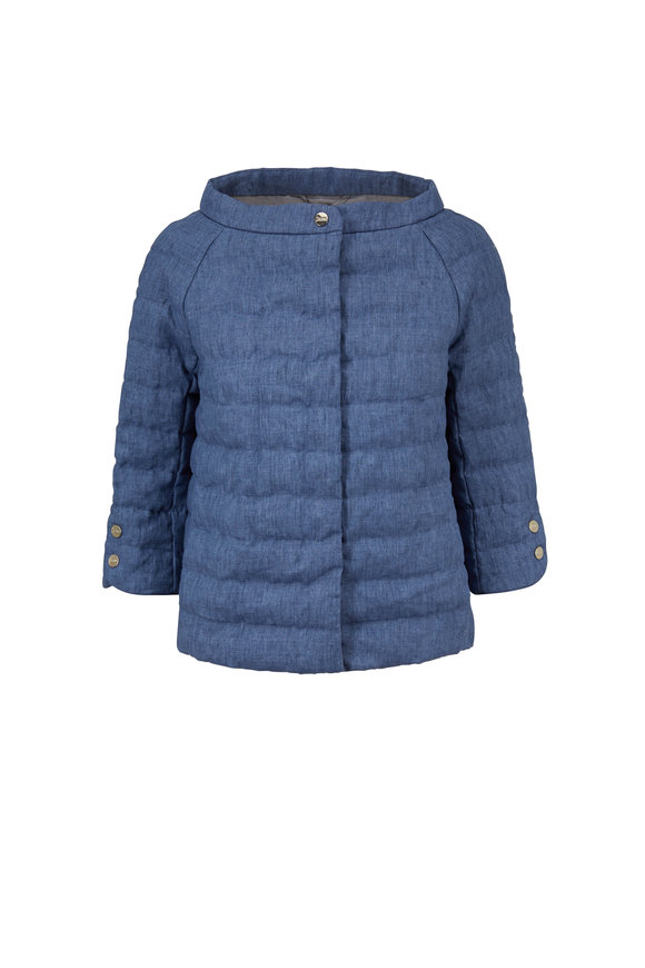 Herno Blue Linen Three-Quarter Sleeve Puffer Jacket