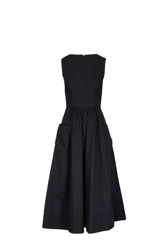 CO Collection Black Cotton Front Pocket Sleeveless Dress