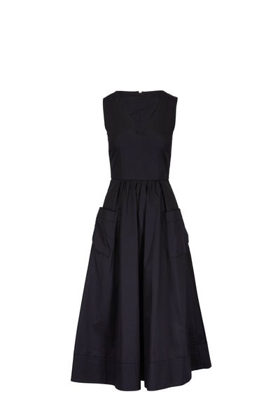 CO Collection - Black Cotton Front Pocket Sleeveless Dress