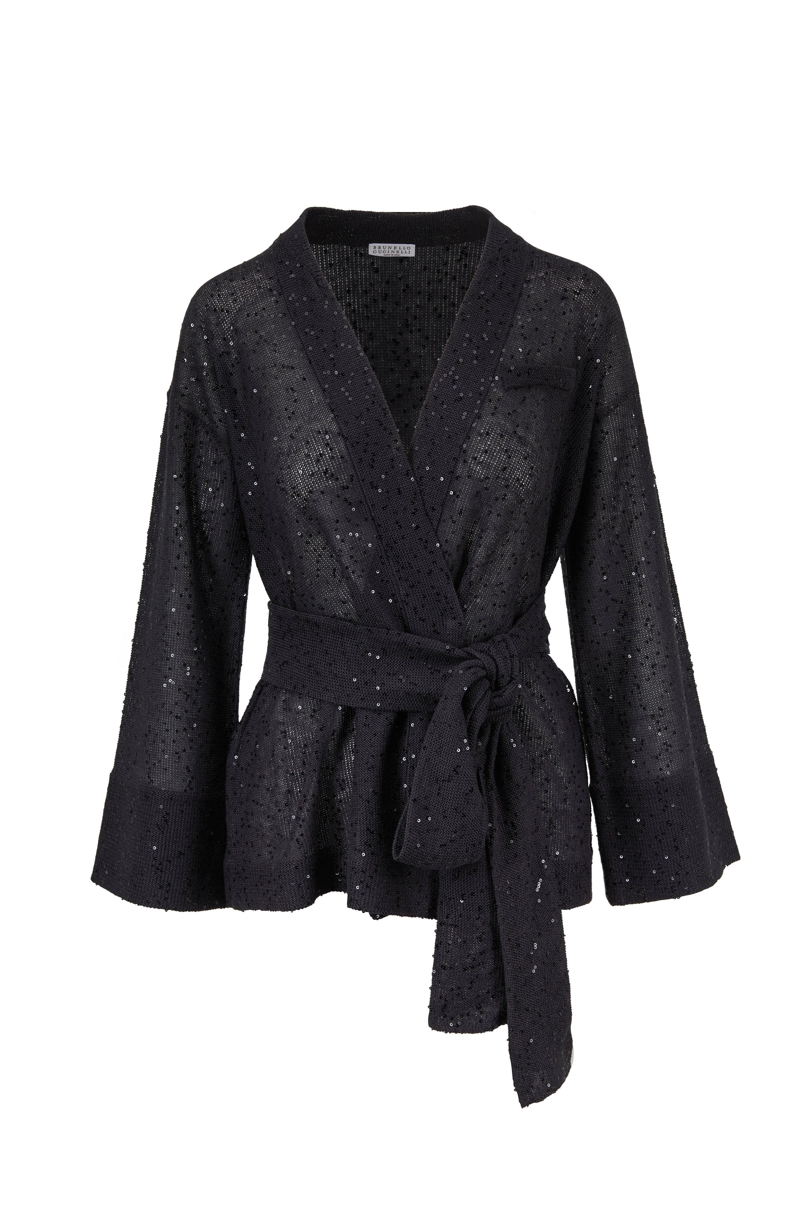 b2766735dc Brunello Cucinelli - Onyx Linen & Silk Paillette Wrap Cardigan ...