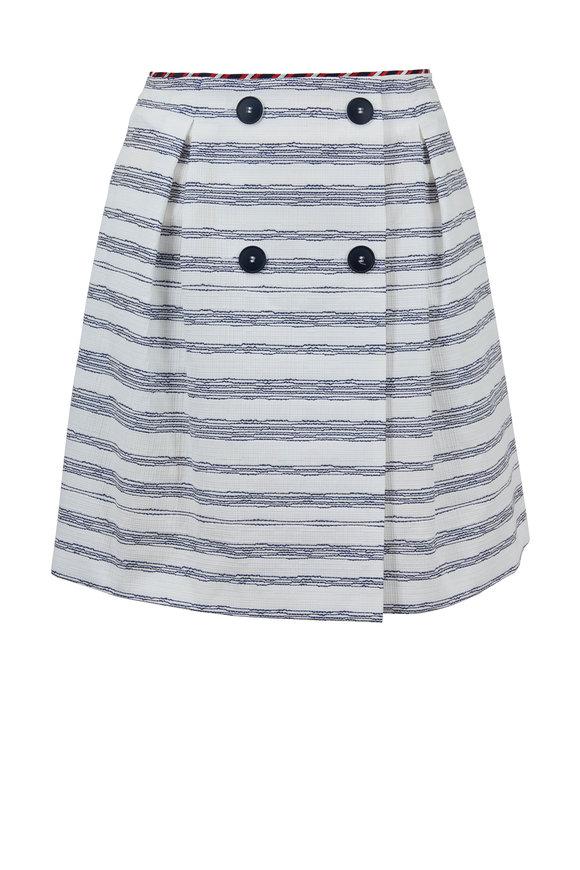 Paule Ka White & Navy Striped Cotton High-Waist Skirt