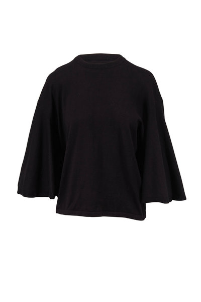 Michael Kors Collection - Black Cotton Drape Sleeve Crewneck Top