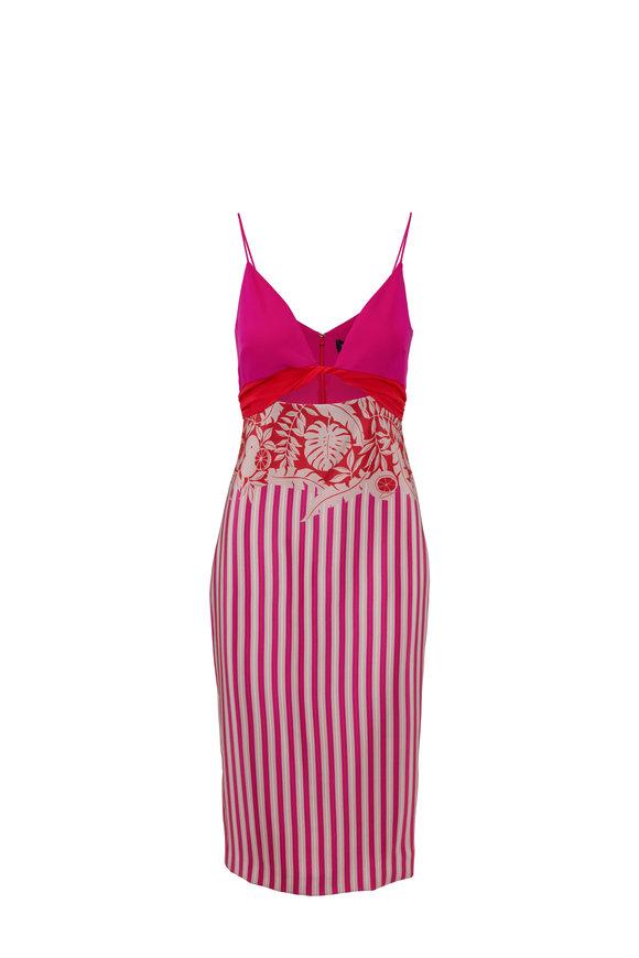 Cushnie Pink Striped & Tropical Printed Twisted Midi Dress