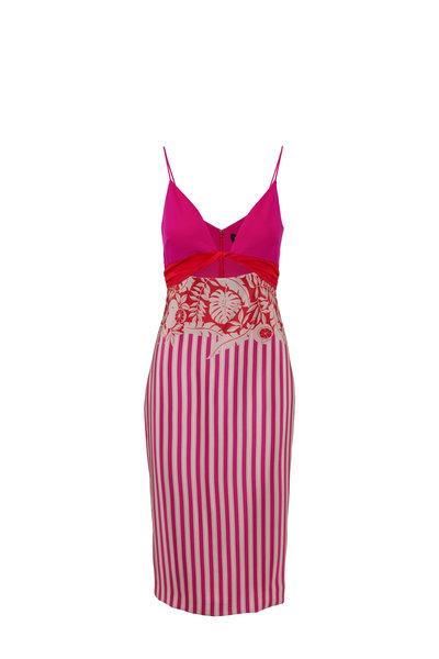 Cushnie - Pink Striped & Tropical Printed Twisted Midi Dress
