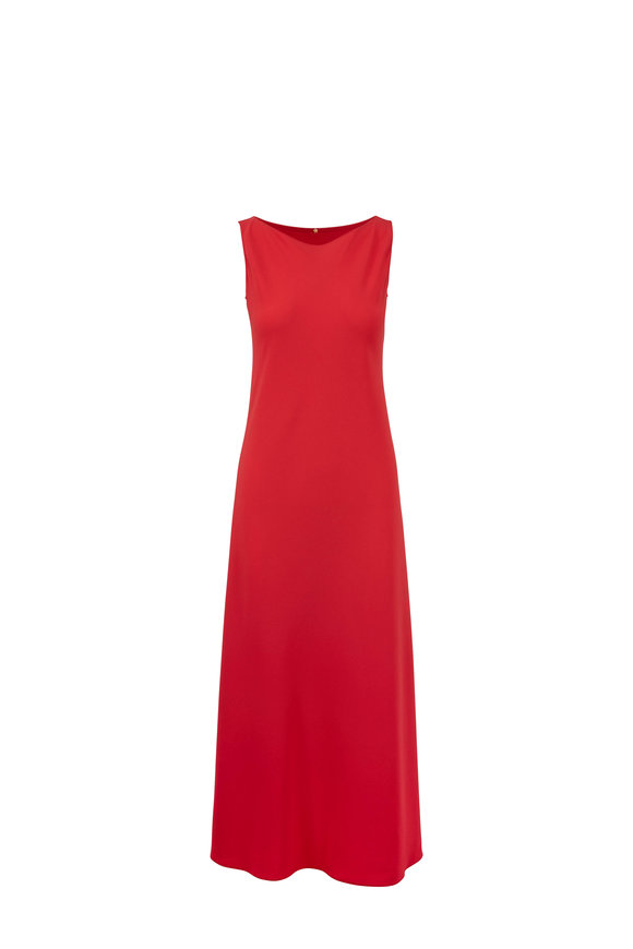 Peter Cohen Coral Crêpe Sleeveless Maxi Dress